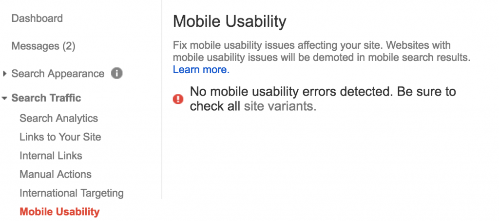 Mobile Usability Module in Google Search Console