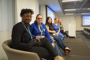 Pam on the Women in WordPress Panel at WordCamp NYC