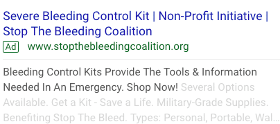 Example of a Google Grants Ad for Nonprofits