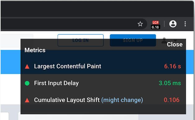 Chrome-web-vitals-extension-measuring-largest-contentful-paint-metric