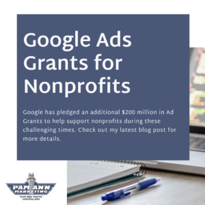 A header graphic introducing Google Ads grants for nonprofits