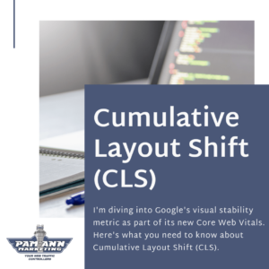 A blog header graphic introducing cumulative layout shift.