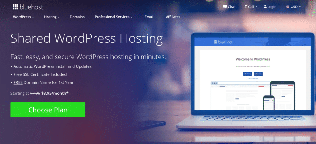The hosting services Bluehost provides highlights the difference between shared hosting and WordPress hosting.