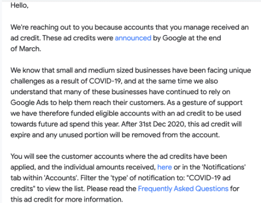 An example of the email notifying a manager account admin that Google Ads credits have been applied.