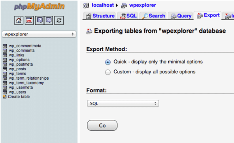 The process of exporting a database for moving a WordPress site to a new host.