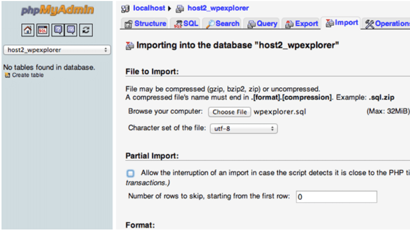 The process of importing a database for moving a WordPress site to a new host.