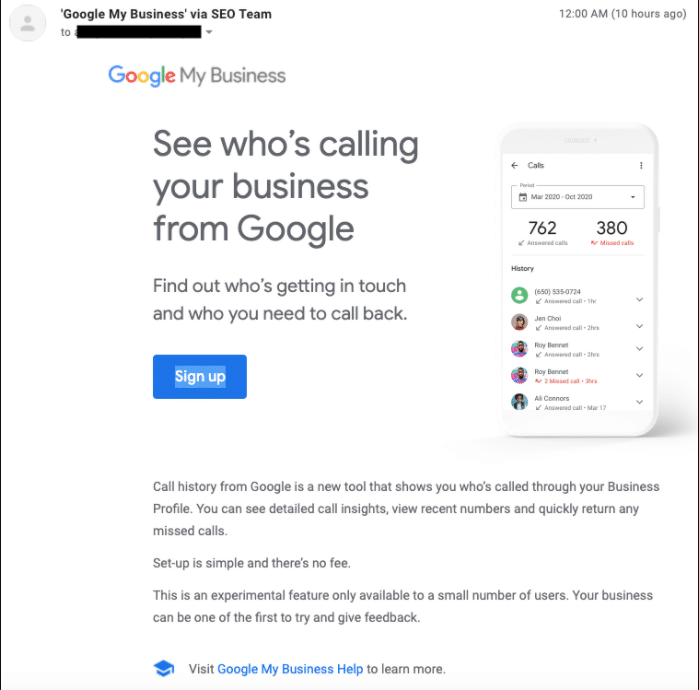 How to turn on Google My Business's new call history feature.