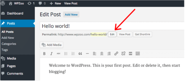 This image shows where in WordPress to go to edit your WordPress permalink structure.