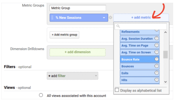 Add the applicable metrics to your report when creating a custom report in Google Analytics.