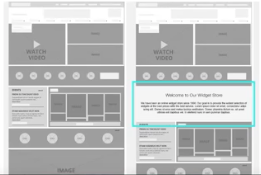 The picture shows a comparison of two home page designs: one that showcases SEO-friendly web design by incorporating a text box for optimized copy against the previous home page design that doesn't.